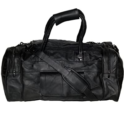 lorenz patch leather genuine real leather with man made trim cowhide holdall duffel bag sports gym bag black case luggage travel strong bag from Lorenz
