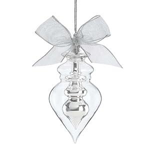 Lenox Christmas Crystal Ornaments Silver Spire Teardrop
