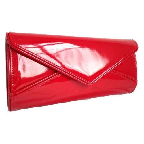Girly HandBags Nude Patent Blush Clutch Bag Glossy Evening Designer Neon Orange Fuchsia Yellow