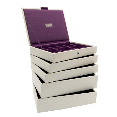 Stackers Set of 5 Cream  &  Purple Medium Stacker Jewellery Trays
