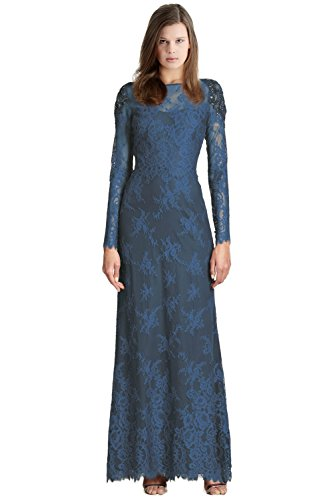 Marchesa Beaded Shoulder Lace Evening Gown Dress