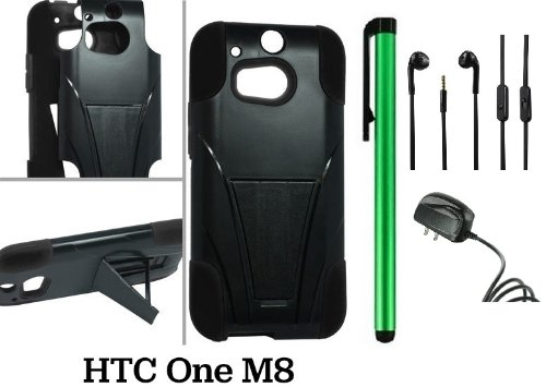 Htc One (M8) Premium Pretty T-Stand Design Protector Hard Cover Case (2014 Q1 Released; Carrier: Verizon, At&T, T-Mobile, Sprint) + Travel (Wall) Charger + 3.5Mm Stereo Earphones + 1 Of New Assorted Color Metal Stylus Touch Screen Pen (Black / Black)