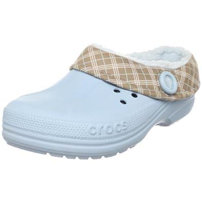 Crocs Unisex Blitzen Winter Plaid Clog,Sky Blue/Mushroom,9 M (B) US Women / 7 M (D) US Men
