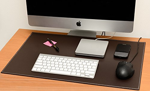 Computer Leather Desk Pad, Stylish Mat Cover, Reversible Color Design Brown To Khaki, 16x24 Inches (Corner Desk Pad compare prices)