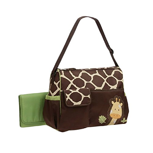 P&G MARKET, LLC 3 Pieces Large Capacity Waterproof Giraffe Print Mummy Diaper Bag Totes With Changing Mat (Green)