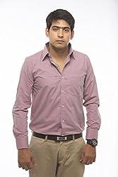 VinaraTrends Pink Color Poly Cotton Shirt For Men (44)