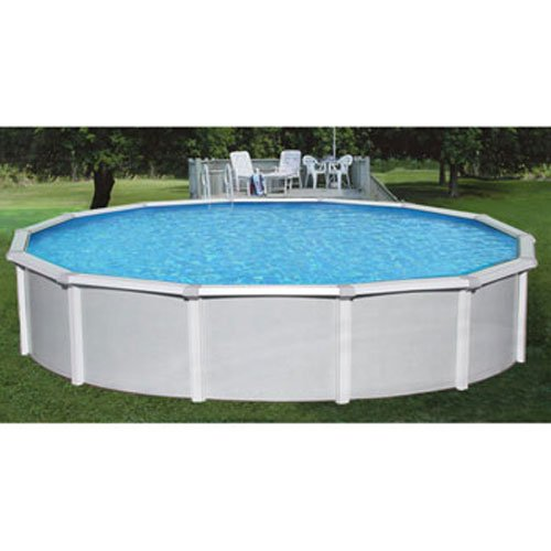 Samoan 24ft round 52in steel above ground pool with free for Cheap deep pools