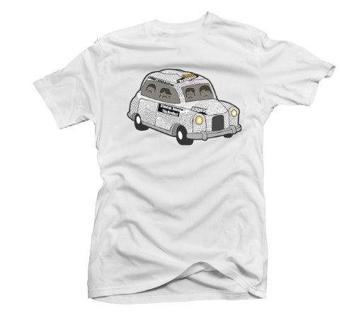 The Beatles giornale Taxi maglietta da donna. UK 10-18. Bianco bianco