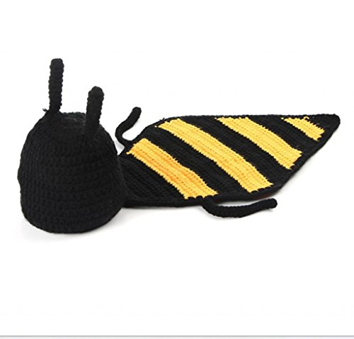 AllHeartDesires Baby Girl Boy Crochet Bee Hat & Cape Set Photo Props