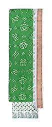 Bandhej Mart Women's Cotton Salwar Suit Material (Parrot Green and White)