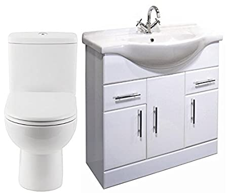 750mm White Vanity Unit & Basin and Curve Closed Coupled Toilet
