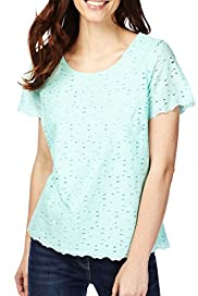 Pure Cotton Scoop Neck Lace Shell Top [T41-7153G-S]