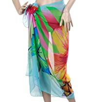 Women Chiffon Beach Scarf Cover Up Pareo Sarong Dress Swim - Blue Green