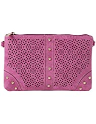 ToniQ Fuschia Floral Cut-Work Sling Bag For Girls,Women(Fuschia)