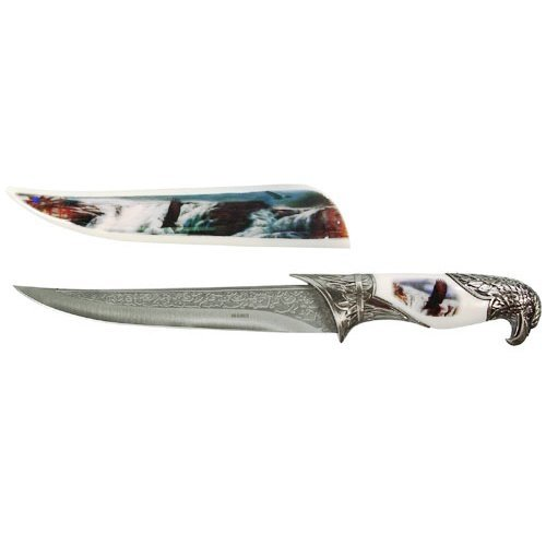 """White Collector's Hunting Knife with Eagle Scabbard and Handle, over 13"""""""