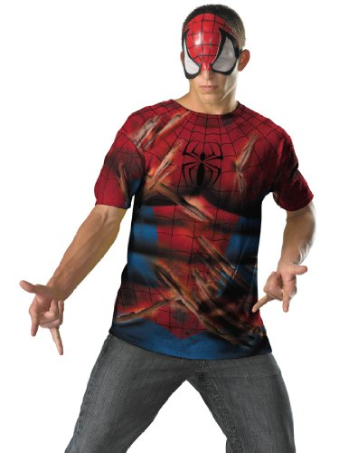 Spiderman Costume T-Shirt and Mask Easy Party Outfit Mens Theatrical Costume