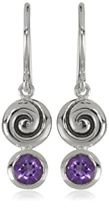 Zina Sterling Silver Swirl Drop Earrings With Amethyst