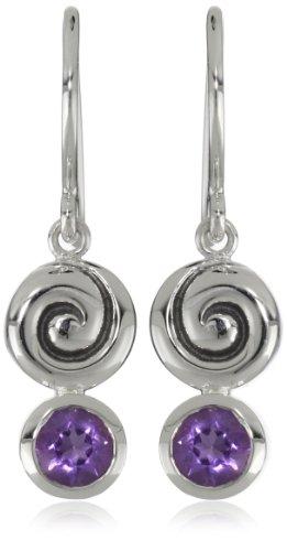 Zina Sterling Silver Swirl Drop Earrings With Amethyst