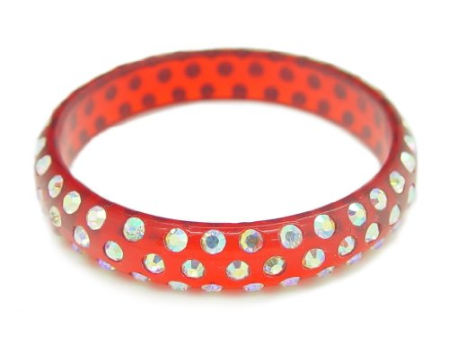 Baby Austrian Crystal Lucite Bangle Bracelet-CLEAR RED BLUE
