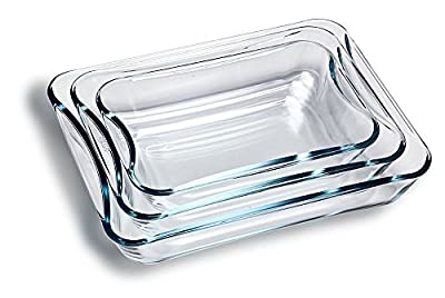 Simax Glassware 311 Smart Touch Rectangular Casseroles, Set of 3
