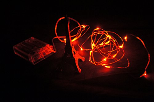 6.6Ft/ Led Copper Light,With 20 Individual Leds,-Battery Operated,Decorate For Christmas,Wedding ,Halloween,Red