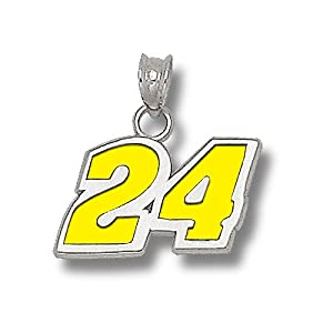 LogoArt Jeff Gordon Sterling Silver Enameled Driver Number Pendant - Jeff Gordon Each by Anderson Jewelry