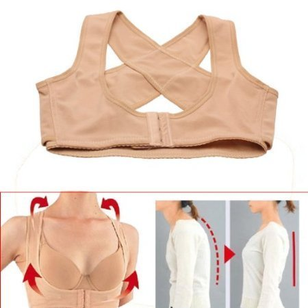Ushoppingcart Lady Chest Breast Support Belt Band Posture Corrector Brace Body Sculpting Strap Back Shoulder Vest X Type Pattern (L)