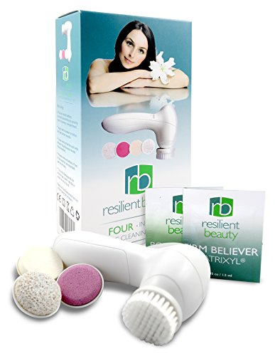 Best ELECTRIC FACIAL CLEANSING BRUSH and Massage System by Resilient Beauty. FREE ANTI AGING FACIAL CREAM Bonus ... Advanced Sonic Skin Care Cleansing Kit Includes 4 Waterproof Attachments to Exfoliate & Smooth for Great Looking Skin at Any Age! (Resilient Beauty Advanced compare prices)