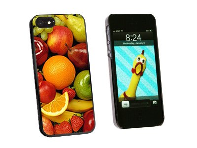 Fruit Bowl - Grapes Apples Strawberries Oranges - Snap On Hard Protective Case for Apple iPhone 5 5S - Black