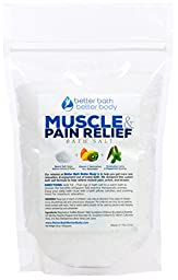 Muscle & Pain Relief Bath Salt 1 Pound Size - Epsom Salt Bath Soak With Eucalyptus & Peppermint Essential Oils & Vitamin C - All Natural No Perfume & Dyes - Relieve Aches & Joint Pain