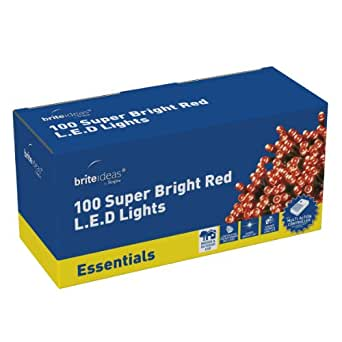 Brite Ideas Festive 100 Multiaction LED Lights, Red