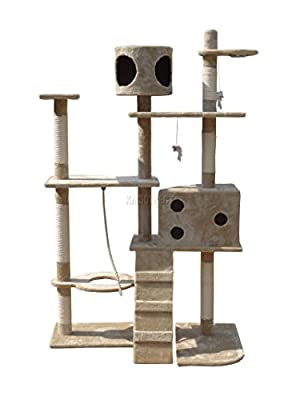FoxHunter Deluxe Multi Level Cat Scratcher Cat Tree Activity Centre Scratching Post with 2 Caves and Toys and Sleeping Area 2299 Beige Faux Fur 106cm x 60cm x 170cm Height