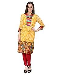 Shilpkala Women's Yellow Digital Print Georgette Kurti - B00PC9FM0W