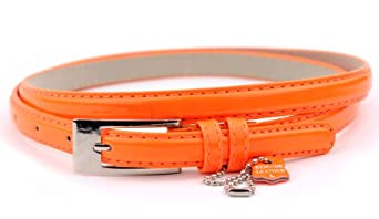 "New Classy Womens Skinny Leather Belt with Shiny Buckle Many Colors S-XL (L (37""-41""), Neon Orange)"