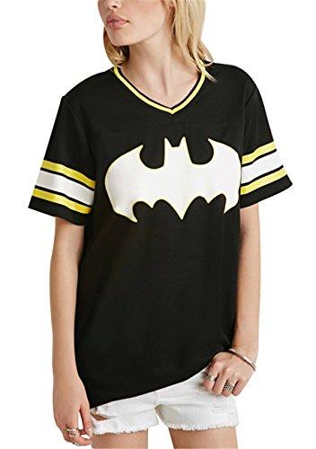Batman Graphic Grafica Scritta Motivo Logo Slogan Stampa Graphic Varsity A Righe Rigato Strisce Baseball T-shirt Tee Maglietta Top Cima Nero M