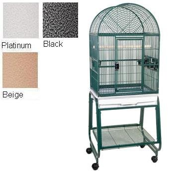 """Hq'S Opening Dome Cage, Small Parrot Cage With Cart Stand, 1 Per Box, 22X17X55""""H, Black"""