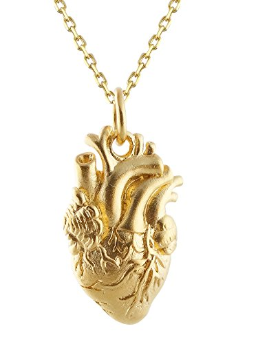 Gold Plated Sterling Silver Anatomical Human Heart Charm Necklace, 18 Inch