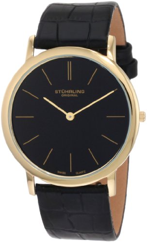 Stuhrling Original Men's 601.33351 Classic Ascot Swiss Quartz Ultra Thin Gold Tone Black Leather Strap Watch