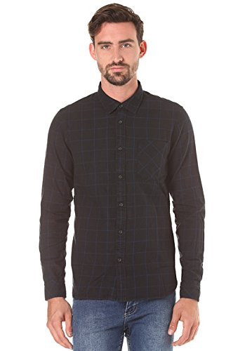 nudie-jeans-henry-flannel-checked-shirt-large-black