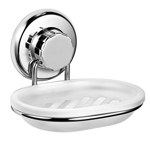 Vacuum Suction Cup Soap Dish Holder by Hasko Accessories - Strong Stainless Steel Sponge Holder for Bathroom & Kitchen - Soap Caddy Can be Mounted on any Clean Flat Smooth Surface - (Chrome)