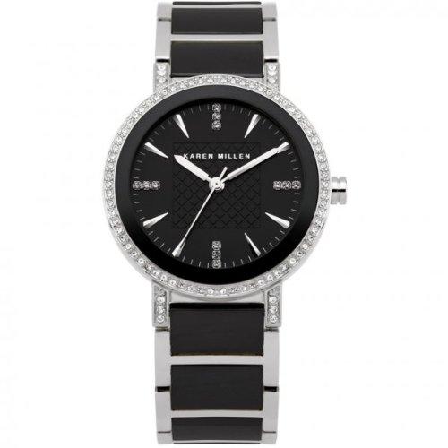 Karen Millen K118 Ladies Silver Black Stones Watch
