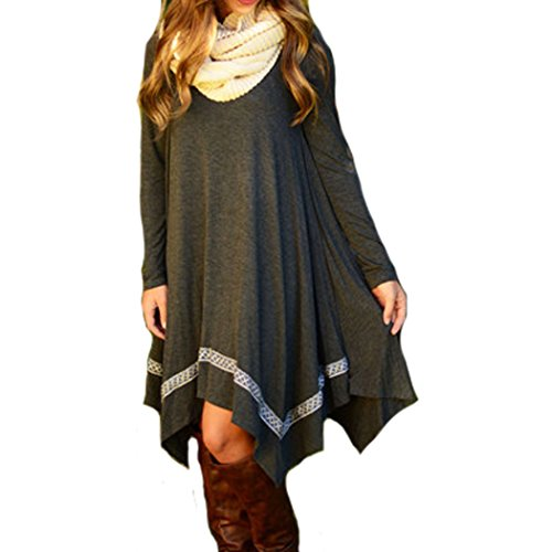 Womens Long Sleeve Loose Irregular Hem Autumn Dress
