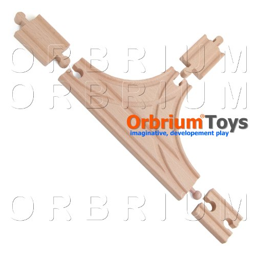 4 Pcs Orbrium Toys T-Track with Female-Female and Male-Male Adapters Set for Wooden Railway Fits Thomas Bro Chuggington Melissa Doug Imaginarium - 1