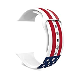 MoKo Apple Watch Band, Soft Silicone Replacement Sports Band for 38mm Apple Watch Models, American Flag (Not fit 42mm Versions)