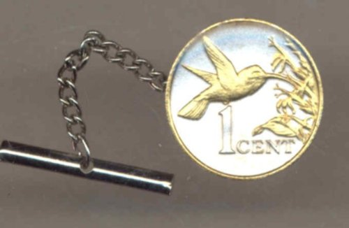 Gorgeous 2-Toned Gold on Silver World Coin Tie-Tack-130TT