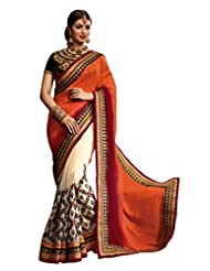 Designer Glamorous Cream Colored Embroidered Faux Georgette Saree By Triveni