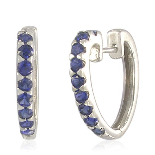 Sterling Silver Round-Shaped Created Blue Sapphire Hoop Earrings