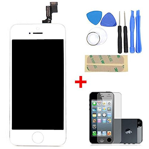 Seresroad® Premium Lcd Lens Touch Screen Display Digitizer Assembly Replacement & Free Repair Tool Kits + Screen Guard Protector Film Cover For Iphone 5S (White)