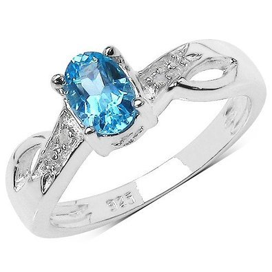 The Blue Topaz Ring Collection: Beautiful Sterling Silver Oval Swiss Blue Topaz Engagement Ring with Diamond Set Shoulders