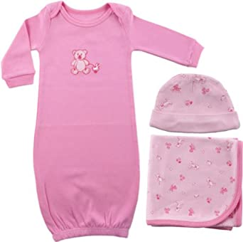 Luvable Friends Preemie Gown, Receiving Blanket and Cap Set, Pink